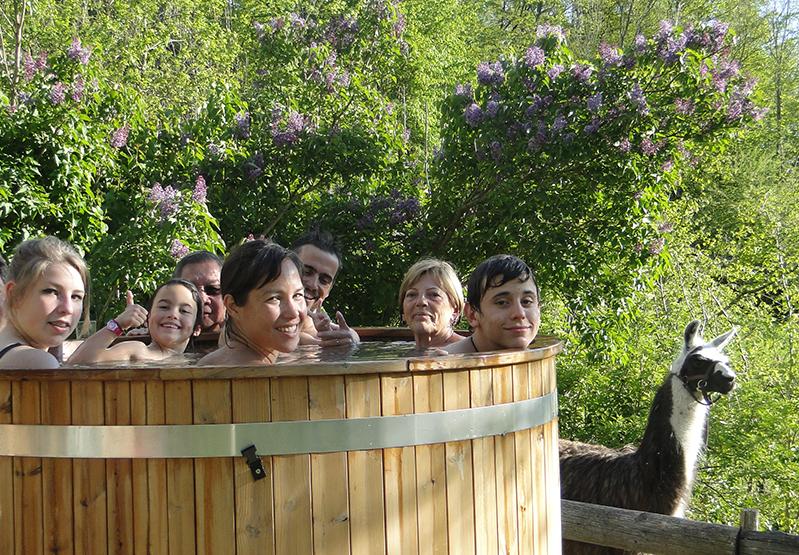 bain norvégien détente spa lama présence animaux